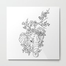 Elephant Portrait with Lotus Flowers and Cherry Blossoms Illustration Metal Print