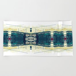 Tramway collage cityscape in Hong Kong Beach Towel