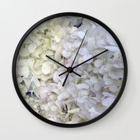 hydrangea Wall Clocks featuring Hydrangea by Awesome Palette