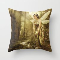 games Throw Pillows featuring Faerie Games by Ginger Kelly Studio