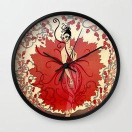 "Delightful Art Deco Illustration ""Blossoms"" Wall Clock"