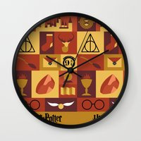 harry potter Wall Clocks featuring Potter by Polvo