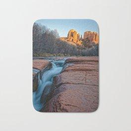 CATHEDRAL ROCK SEDONA PHOTO - ARIZONA SUNSET IMAGE - LANDSCAPE NATURE PHOTOGRAPHY Bath Mat