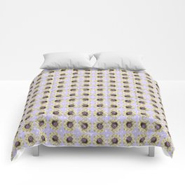 Mustard Yellow Daisy Floral Flowers Illustration on Lavender Bokeh Comforters