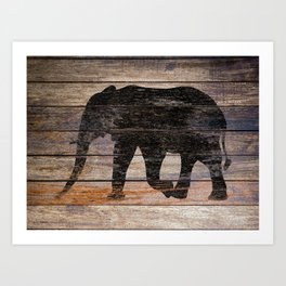 Rustic Elephant Animal Silhouette on Wood A215 Art Print