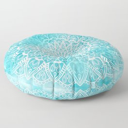 Blue Sky Mandala in Turquoise Blue and White Floor Pillow