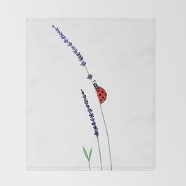 red ladybug and purple lavender Throw Blanket