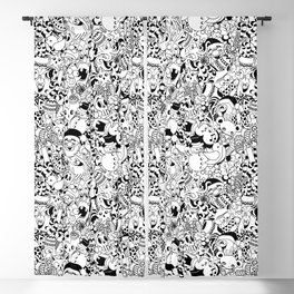 Christmas Doodles Funny and Cute Black and White Characters Blackout Curtain