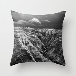 Storm Over The Badlands Black and White Throw Pillow