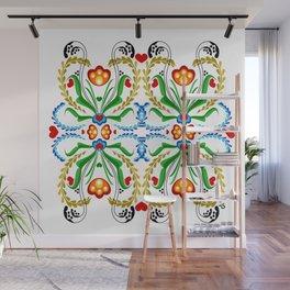 Scandinavian Folk Art ~ Tulip Mosaic Wall Mural