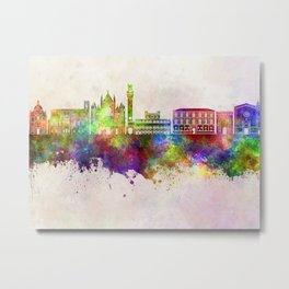 Siena skyline in watercolor background Metal Print