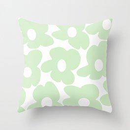 Large Baby Green Retro Flowers White Background #decor #society6 #buyart Throw Pillow