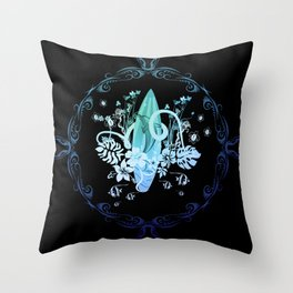 Surfing, tropical design with surfboard and flowers Throw Pillow