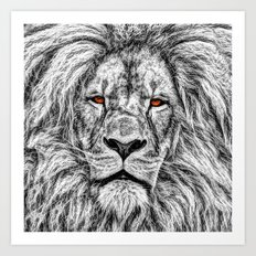 Black Lion Art Print