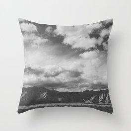 Red Rock Canyon, Las Vegas, Nevada. Mountain Black and White Photograph Throw Pillow