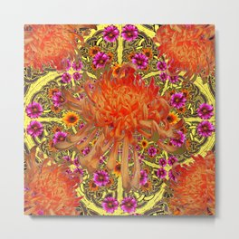 Colorful Decorative Orange Spider Mums Purple Floral Metal Print