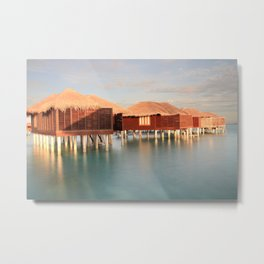 Tropical Maldives Sunrise Beach Bungalows Metal Print
