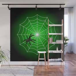 White Spider Web With Spider on Acid Green and Black Wall Mural
