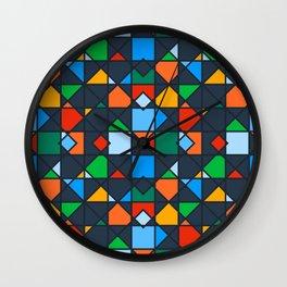 Colorful Kaleidoscope Architectural Geometric Pattern Wall Clock