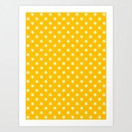 Cream Yellow on Amber Orange Stars Art Print