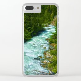 Here Be Bears - Black Bear and Wilderness River Clear iPhone Case