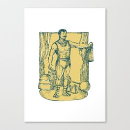 Strongman Lifting Weight Drawing  Canvas Print