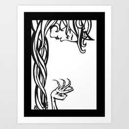 Repunzel and witch Art Print