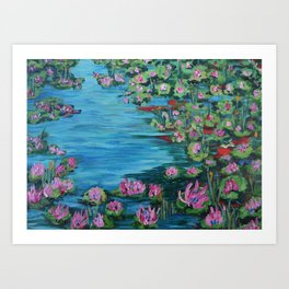 Lily Pond, Impressionism Painting, Pond Flowers Art Print