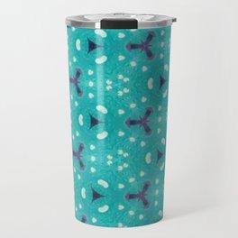 Aqua Purple and White Textured Bubble Abstract Design Travel Mug