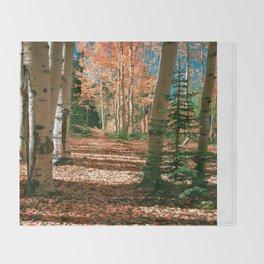 Fall Aspen Tree Hike by OLena Art Throw Blanket