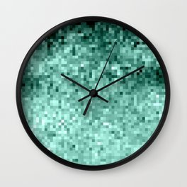 Teal Mint Green Pixels Wall Clock