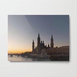 Night view of Zaragoza, Spain Metal Print