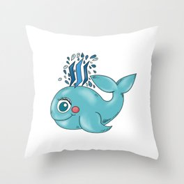 Steem Whale Throw Pillow