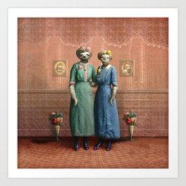 The Sloth Sisters at Home Art Print