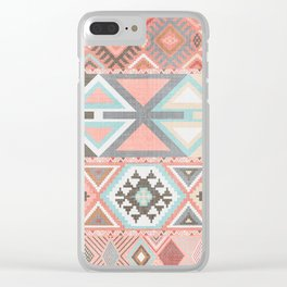 Aztec Artisan Tribal in Pink Clear iPhone Case