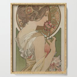 PRIMROSE Flower 1899 Alphonse Mucha Serving Tray