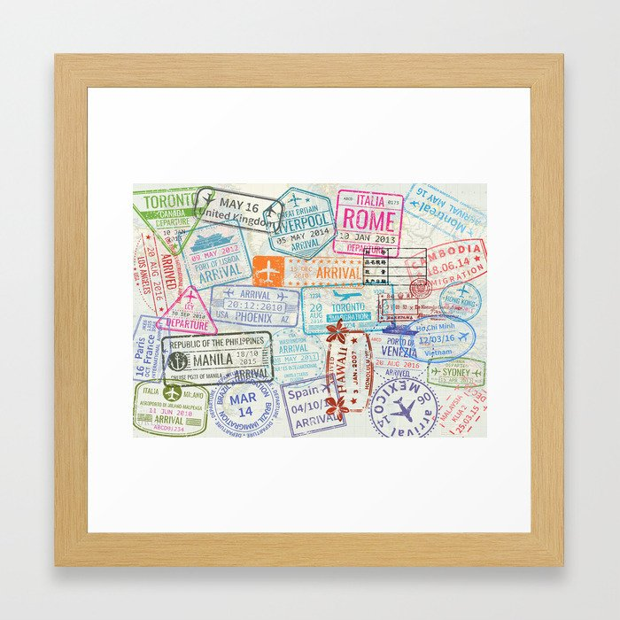 Vintage world map with passport stamps framed art print by vintage world map with passport stamps framed art print by linacatdesigns society6 gumiabroncs Choice Image