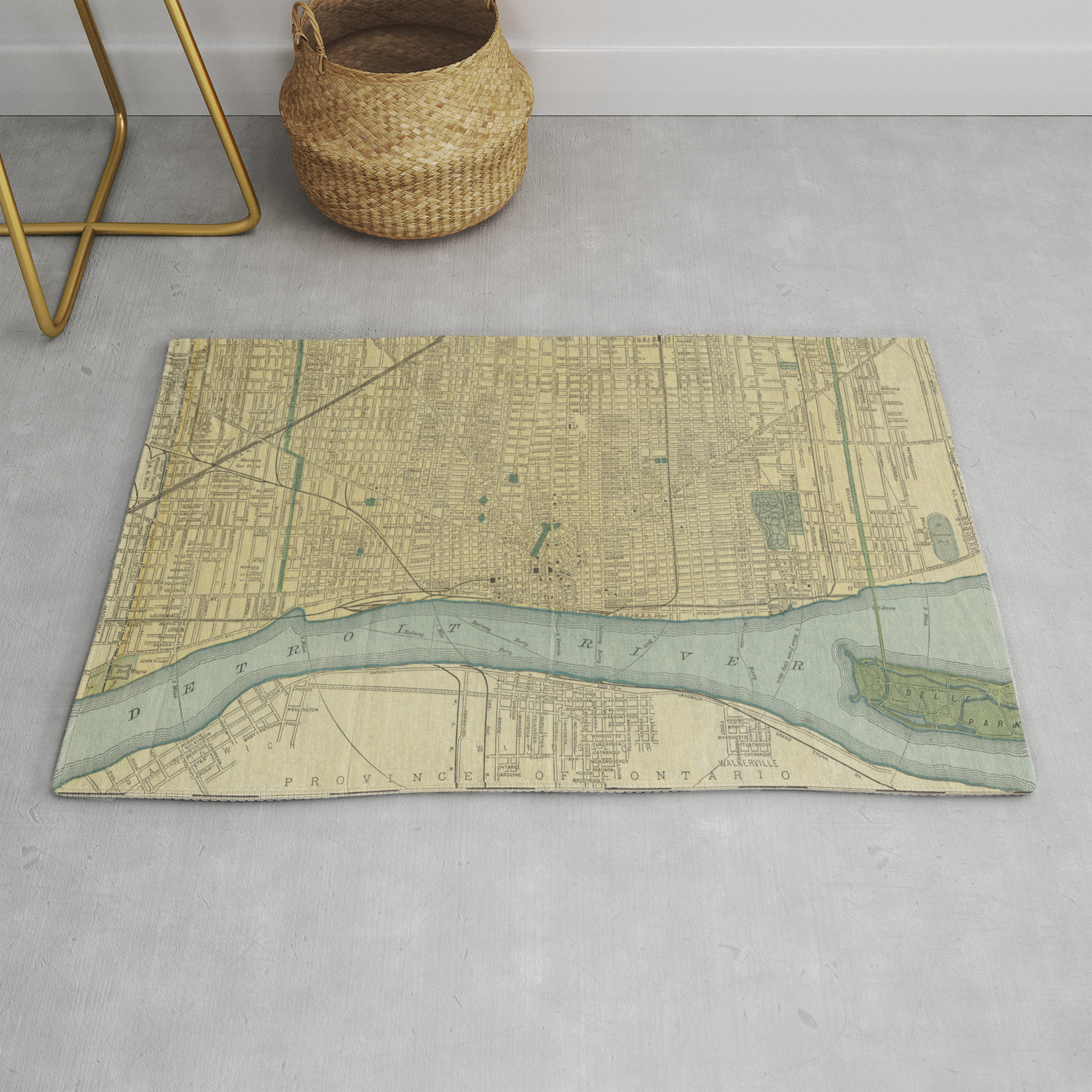 Vintage Map Of Detroit Michigan 1895 Rug By Bravuramedia Society6