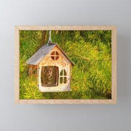 Bird feeder Framed Mini Art Print