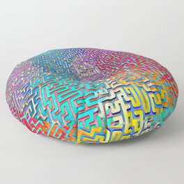 Rainbow Complex Maze Floor Pillow