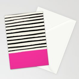 Bright Rose Pink x Stripes Stationery Cards