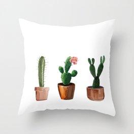 Three Cacti On White Background Throw Pillow
