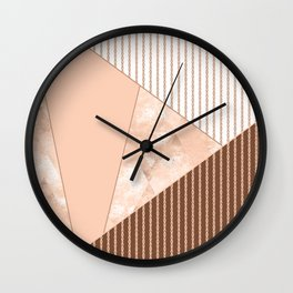 Valencia 2. Abstract Beige, white, brown geometric pattern. Wall Clock
