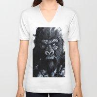 gorilla V-neck T-shirts featuring Gorilla by rchaem