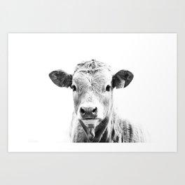 bw cow, southwest decor, farmhouse photography, rustic decor Art Print