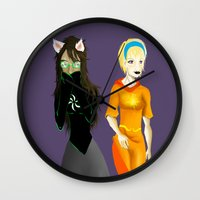 homestuck Wall Clocks featuring Beta Babes by Paula Urruti