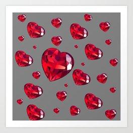 GREY ART RAINING RUBY RED VALENTINES HEARTS Art Print