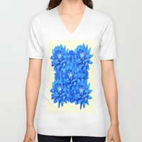 blankets V-neck T-shirts featuring Decorative  Opulent Baby Blue Dahlia Flowers Art Work Design by SharlesArt