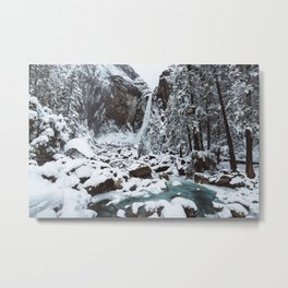 Snow at Yosemite Falls Metal Print