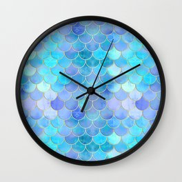 Aqua Pearlescent & Gold Mermaid Scale Pattern Wall Clock